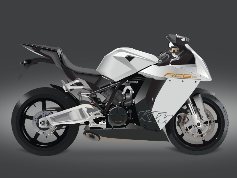 Ktm RC8 vector motorcycle graphic design illustrator vector rc8 ktm