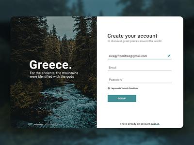 Daily UI #001 Sign Up greece ui 001 graphic design design user interface design travel login web design ui design daily ui sign up