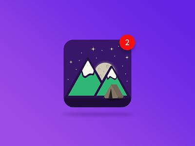Daily UI #005 App Icon illustrator mountains camping ui 005 graphic design design user interface design travel app icon web design ui design daily ui