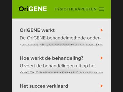 Origene mobile interface mobile interface