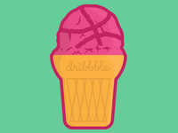 Ice Cream Dribbble Sticker