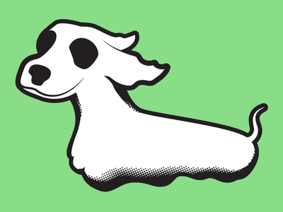 Halloweenie Dog dachshund dog spooky illustration
