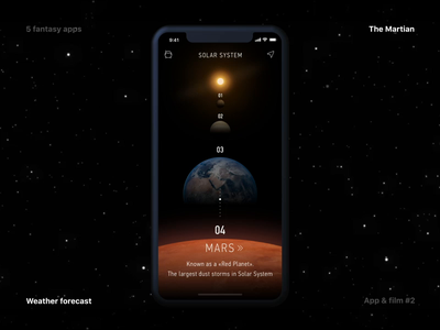 What if... Fantasy app for movie lovers #2 planets weather forecast weather cosmic cosmos mars martian uiux ux movie mobile language ios interaction fantasy design concept cinema app animation