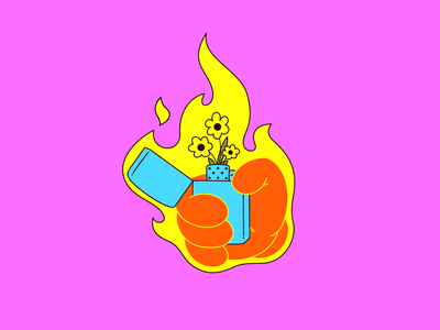 Lit surreal line branding illustrator flat vector illustration flames petal flowershop flowers hand fire lighter