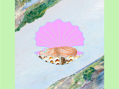 My house by the water frickles flowers sky surreal collage landscape ear pearl shell graphic design branding design minimal illustrator flat illustration vector