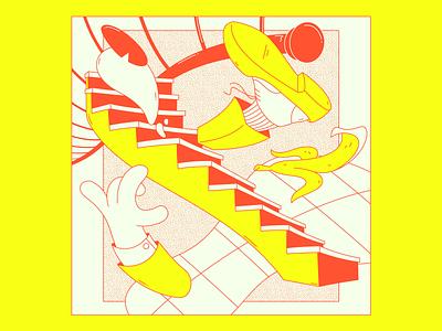 The fall crisp emotion teeth minimal lace shoe sock leg arm hand eye stairs banana foot feet design illustrator flat illustration vector