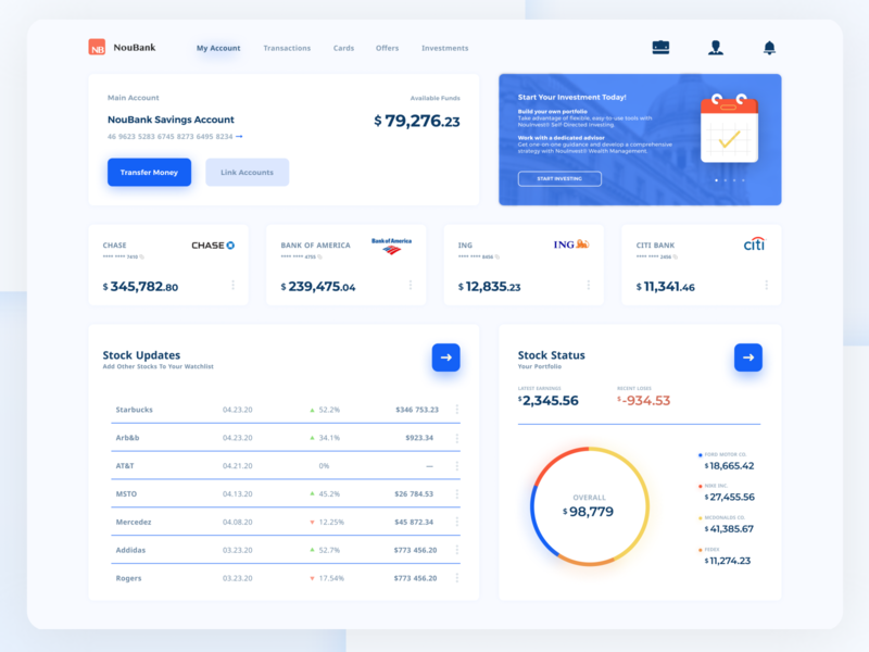 Bank Dashboard exploration investing bank app digital bank flat web app ux ui landing design