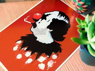 'Clown Hates Carnival' Print illustration illustrator drawing red portrait portraiture ronan lynam freelance print printmaking graphic design