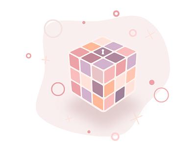 Rubiks Cube pastel cube rubix illustration gravit designer