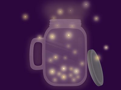 Firefly night illustration gravit designer purple yellow glow jar firefly