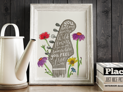 Wildflowers Watercolor Illustration + Lettering