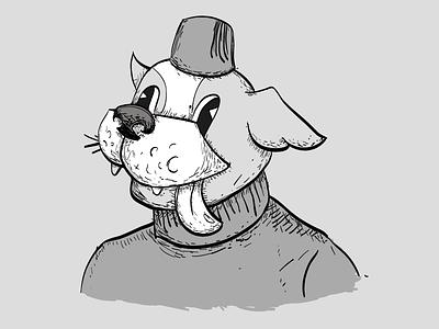 Frenchie portrait black and white dog turtle neck fez illustrator