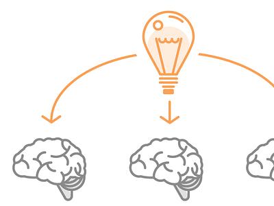 Information Sharing despacito arrows illustration vector lightbulb brain
