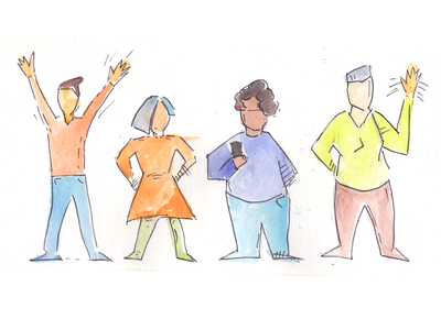 Diversity people blog watercolor illustration