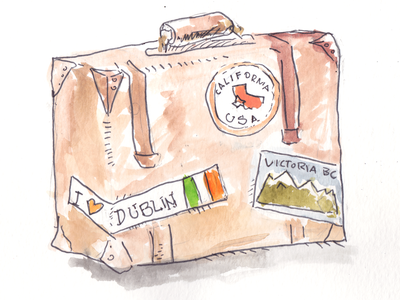Suitcase brush suitcase travelling illustration watercolor