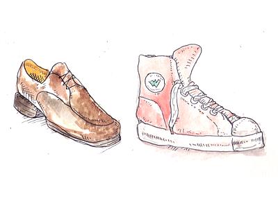Work life balance blog brush illustration shoes watercolor