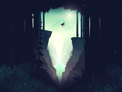 Ekko and the Firefly environment poster illustration river sky firefly magical dreamlike trees mountain forest game