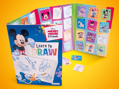 Learn to draw with Mickey Mouse & Friends book design mickey childrens toys toys album product development branding design childrens book product design mickeymouse disney