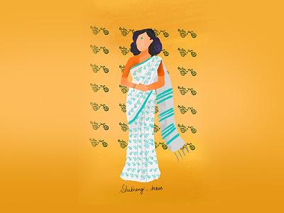 Linnen Saree (cycle rikshaw print) texture handloom style styleguide fashionillustration illustraion textile print