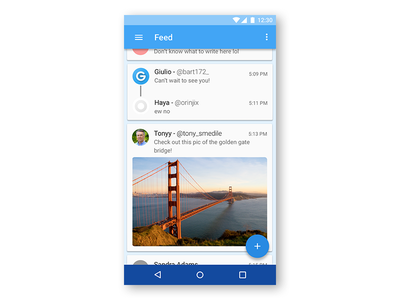 Twitter client material design material android twitter illustrator photoshop sketch prototype ux ui app