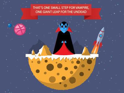 First vampire on the Moon illustration cartoon debut