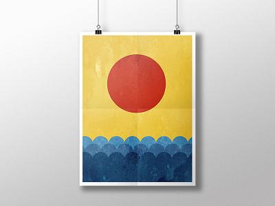 Sun and sea poster vector poster personal work print artwork