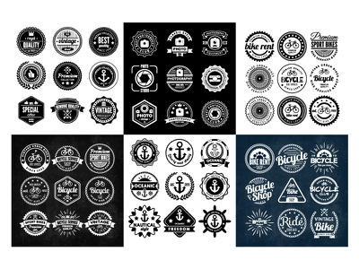 Badges bike anchor vintage retro badge