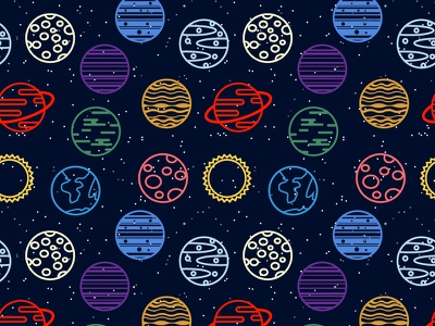 Planets vector planets pattern