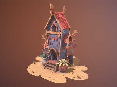 Stone House game art concept 3d