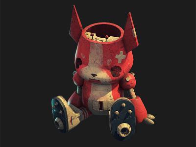 Cosmonaut Panchenko pet character design robot bulldog dog character concept 3d