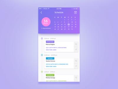 Fitness App  -  Schedule Screen ui list google material design google calendar color ios app android material design schedule activity