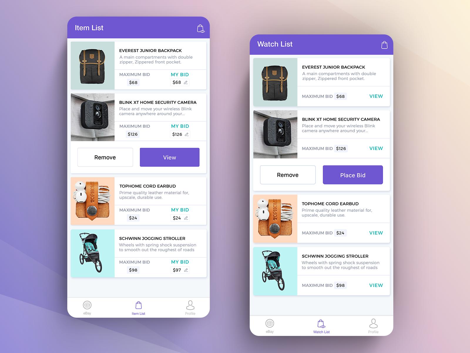 Ebay Auction App By Gtc Design Inspiration