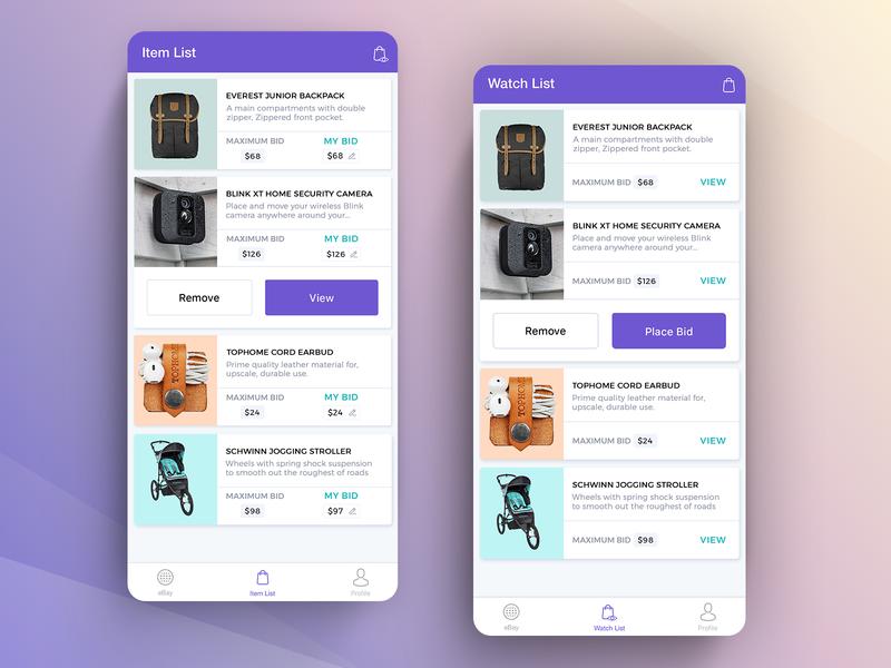 eBay auction app by GTC on Dribbble