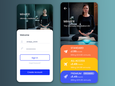 MindFit App app design icons price table login screen price price list login mobile psd ux ui yoga mindful meditation app meditate lifestyle calming calm app