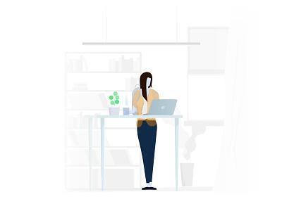 Developer types #1 working office space developer office illustration design vector minimal