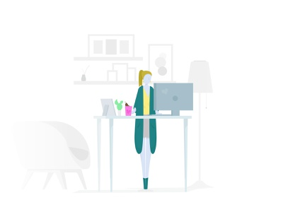 Developer types #3 people illustration developer people office space office illustration vector minimal