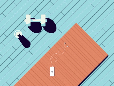 Quarantine days || Workout iphone shake proteins dumbbell workout illustration solid minimal vector