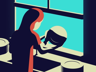 Quarantine days || Washing dishes window plate dishes washing shadow solid illustration vector minimal