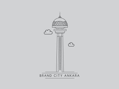 Brand City Ankara - Atakule ankara tower simple vector lineart brand atakule city landmark