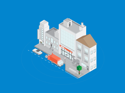 Deliver to City chain supply logistic solid sidewalk car truck store building city isometric