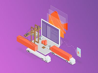 Loading using AI vector truck route minimal illustration flat design loading 2d