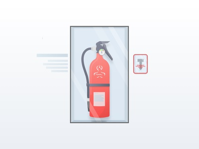 🔥🔥 Fire Extinguisher glass red clean fire extinguisher fire minimal vector