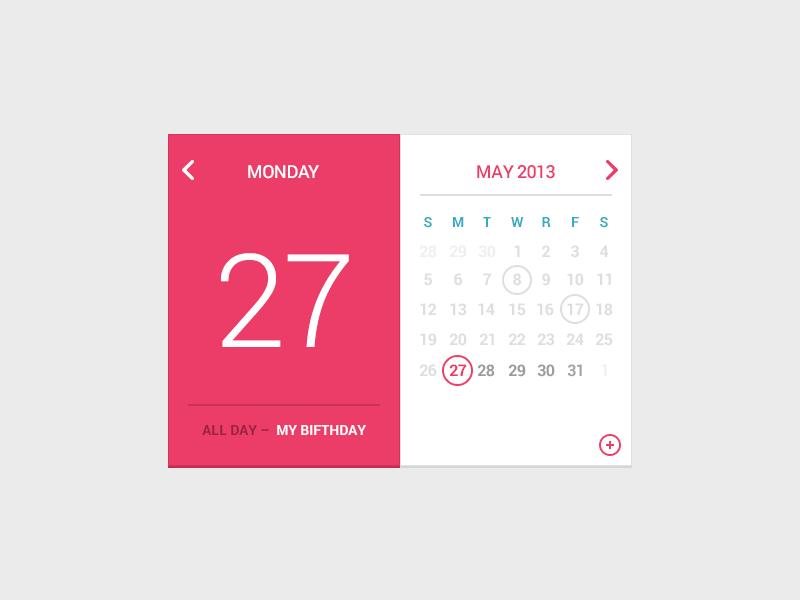 My Birfday Calendar free psd rebound calendar flat ui pink red birfday schedule freebie