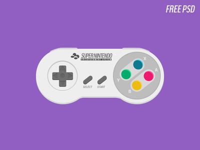 Super Nintendo Controller rebound flat psd freebie psddd super nintendo games conroller green yellow pink blue gray icon illustration 1990s entertainment system free