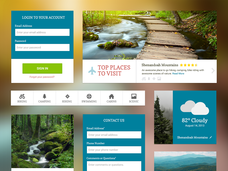 UI Kit – Free PSD psddd ui kit navigation icons forest park weather form login green psd free