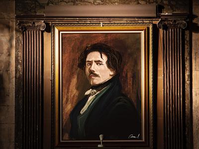 Eugene Delacroix illustration art eugene delacroix portrait digital drawing fine arts art delacroix painting old masters