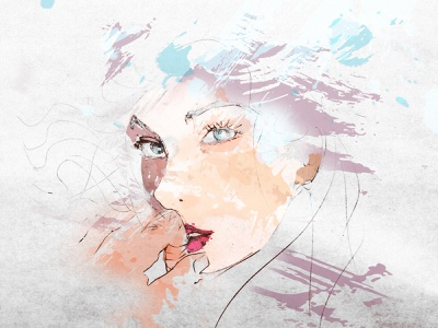 Girl Sketch drawing texture colors face anime portrait girl