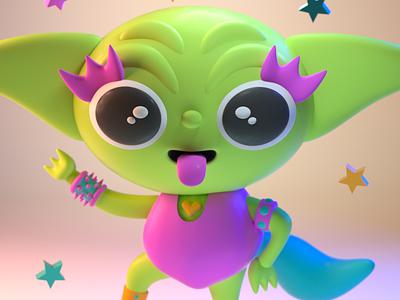 DrawBanana 2020 - Kinky Yoda halloween design character illustration character design 3d modeling 3d illustration 3d artist 3d art 3d