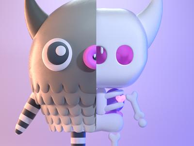 DrawBanana 2020 - Skeleton Inside halloween design character illustration character design 3d modeling 3d illustration 3d artist 3d art 3d