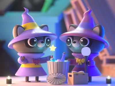 Drawlloween 2020 - Wizard animals design character illustration character design 3d modeling 3d illustration 3d artist 3d art 3d